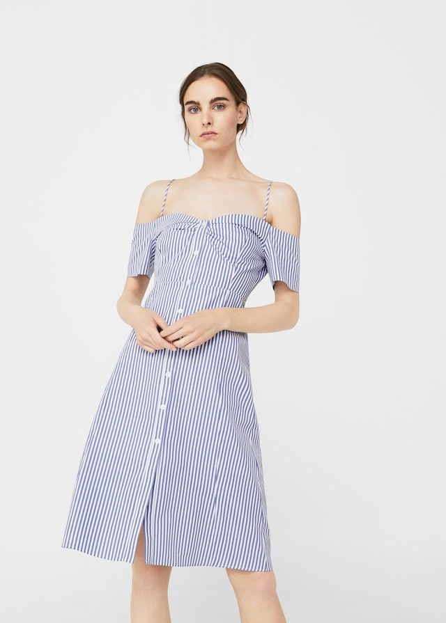 Off-shoulder striped dress