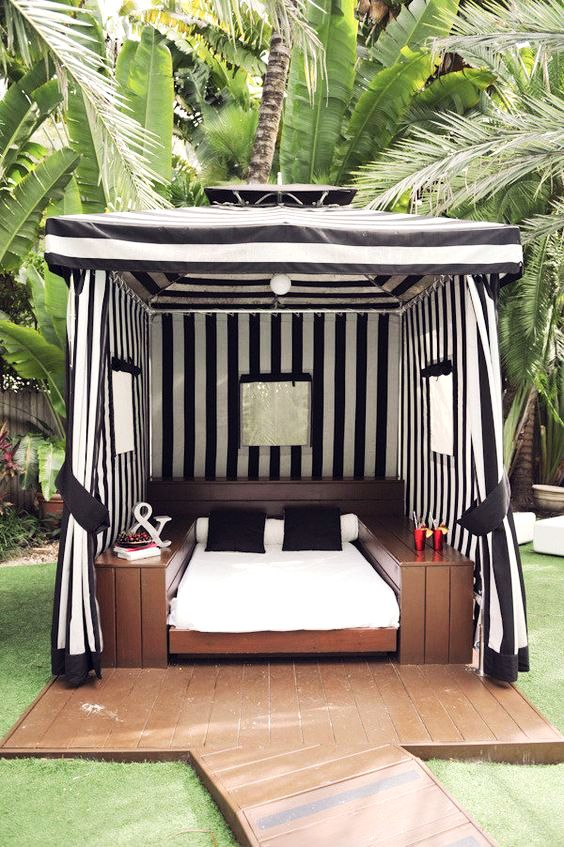 black and white striped cabana