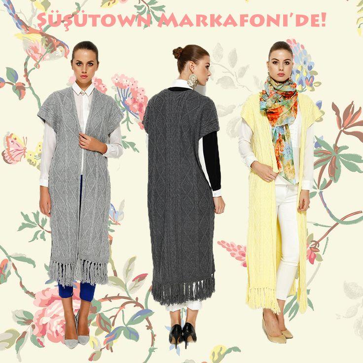 Şüşütown Hilal Örgü Yelek- Waist hijab style www.susutown.com