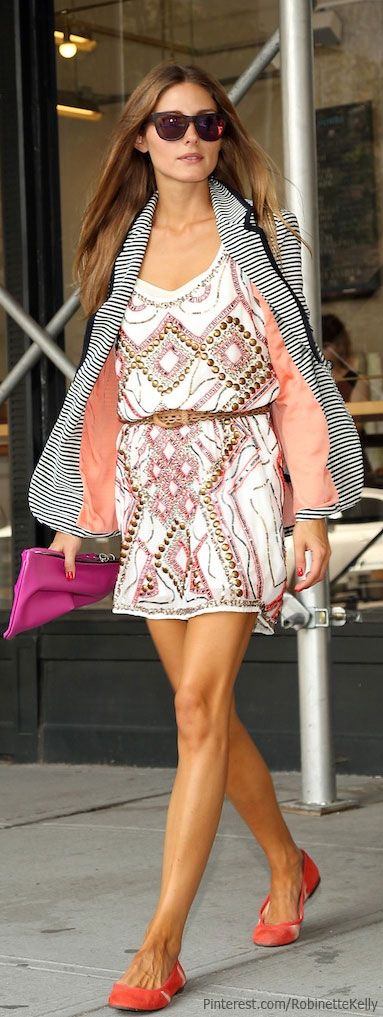 Beaded dress, striped blazer and pops of color | Olivia Palermo