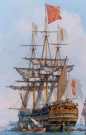 """1771. Nau de linha ( Portuguese ship of the line) """"Príncipe Real"""" First rate class 110 guns 3500 tons 66mt  Was the biggest and most powerful ship in the history of Portuguese navy  Enter in several missions helping the British fleets in Mediterranean and in England. 1822, in the time of the independence of Brazil, the Principe real is in a Brazilian dock and become the first big and most powerful ship in the Brazilian navy"""