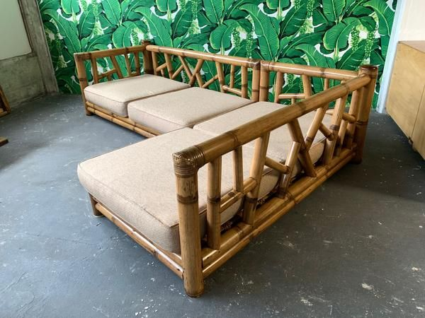 Chinoiserie Oversized Bamboo Sectional Sofa Bamboo Design
