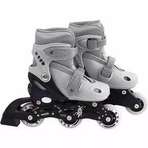 patins roller infantil cinza - ajustável do 31 a 34 - mor
