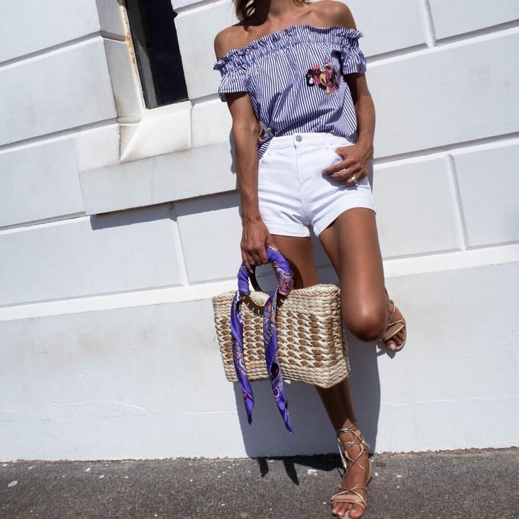 Blue and white stripe top, white shorts, straw basket bag, summer style, summer fashion, tanned