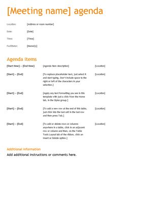 microsoft office meeting agenda template - Alannoscrapleftbehind
