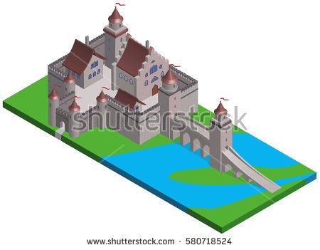 Isometric view of a medieval castle. Vector illustration.