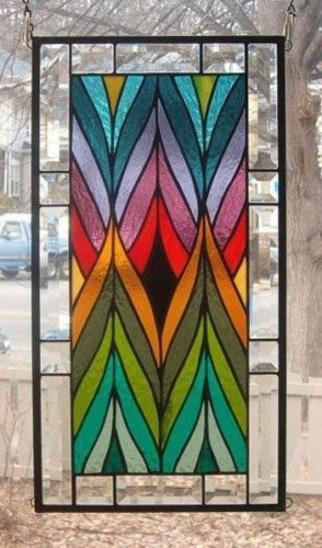 A Jagged Blend of Color Stained Glass Window Panel Signed and Dated | eBay