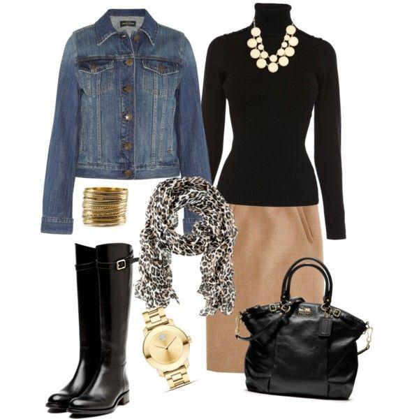 Black turtle neck sweater, jean jacket, khaki skirt black riding boots - work or church - FAB-O!