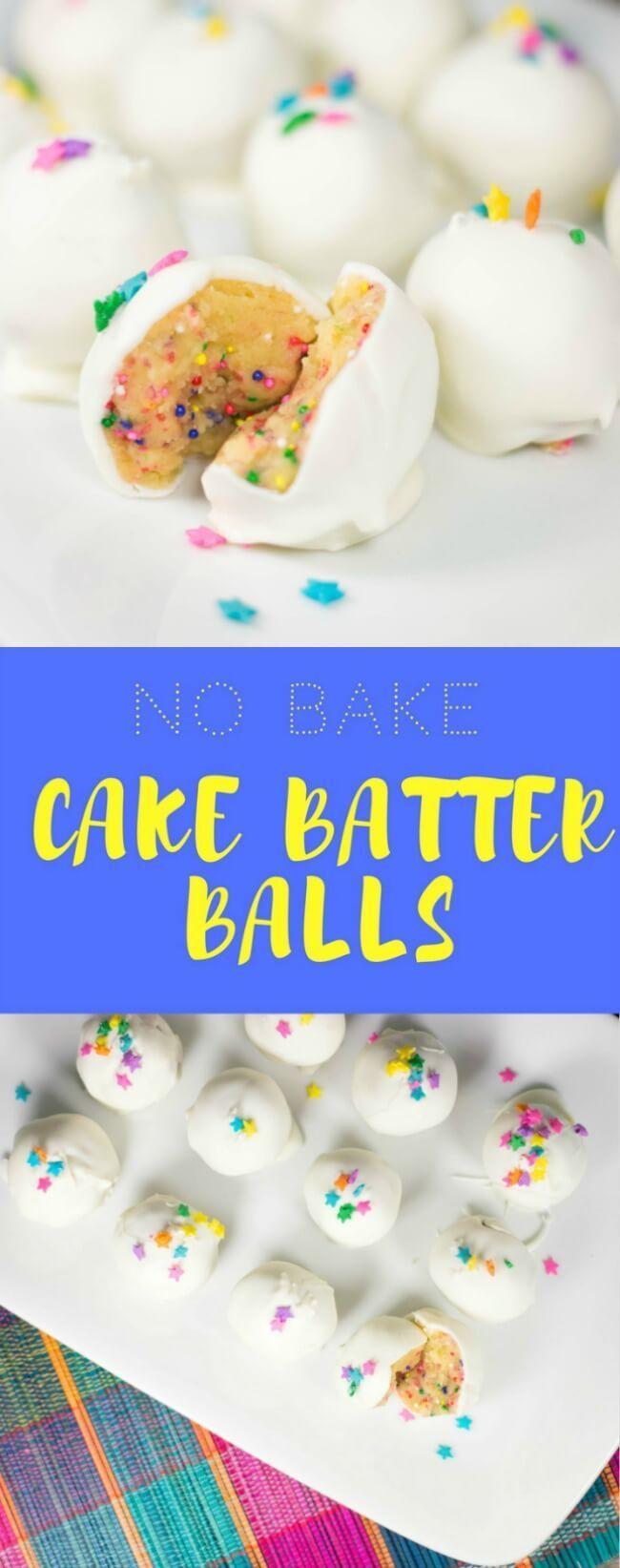 NO BAKE CAKE BATTER BALLS - This no bake cake batter balls recipe is fun, easy to make, and everyone always loves these! They taste like little bites of birthday cake!  #cake #cakeballs #dessert