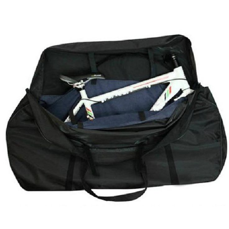 Yahill Soft Bike Transport Travel Bag Transitote Bicycle Carrying Case­. Allows you to transport your bike with a comfortable padded shoulder strap. The most convenient way to store your full size bike. Portable storage for most sizes and kinds of bicycle. Two side pockets with velco straps accommodate the wheels, pedals, and accessories. Can be folded in a small carrying case with two velco straps and two buckle straps, easy to attach to the bike handlebar or carrier rack. Package with a...