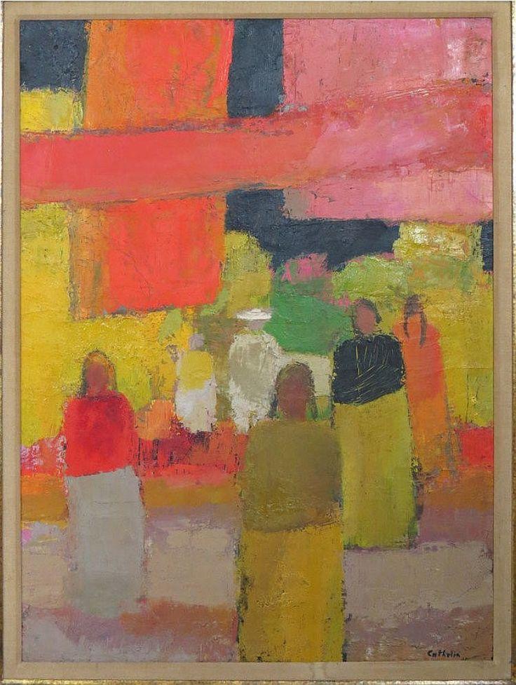 SCENE de MARCHÉ  by BERNARD CATHELIN (French, 1919-2004)