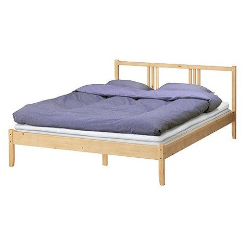 "http://homeforfuture.com/pinnable-post/ikea-full-bed-frame-solid-wood-with-headboard Product dimensions Length: 77 1/2 "" Width: 55 7/8 "" Footboard height: 13 "" Headboard height: 31 1/2 "" Mattress length: 74 3/8 "" Mattress width: 53 1/8 ""  Product materials: Main parts/ Rail/ Midbeam: Solid pine Bedside: Solid pine, Solid pine  This product requires assembly"