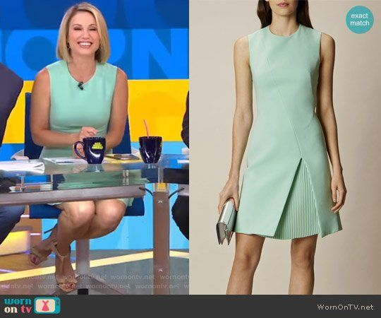 Amy's green sleeveless dress on Good Morning America.  Outfit Details: https://wornontv.net/71868/ #GoodMorningAmerica