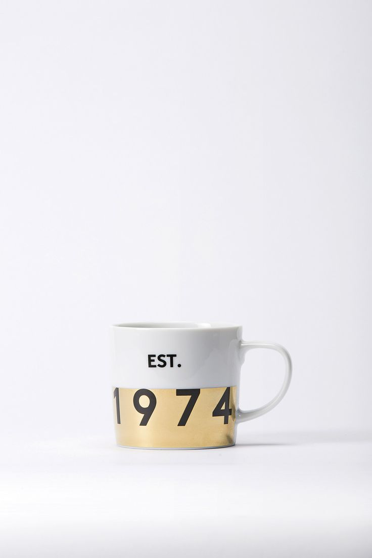 Our special birthday edition mug, featuring a colour blocked metallic design and bold graphic.