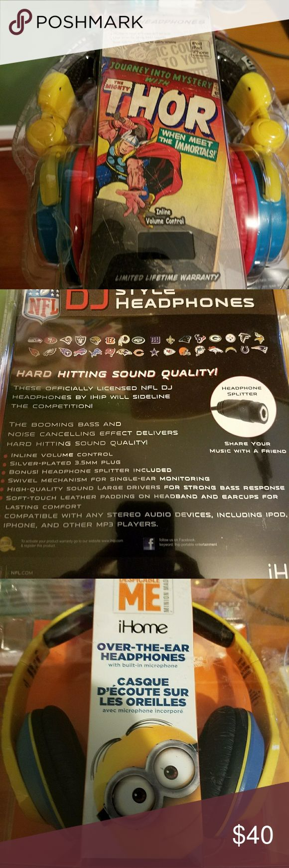 Brand new headphones I have three NFL patriots DJ headphones, one Despicable me, one Thor and one Wolverine headphone set. All made by ihip. All are in original packaging, no damage whatsoever so rock out in style with your favorite team or excite your child with his favorite characters to tune to. Ihip Other