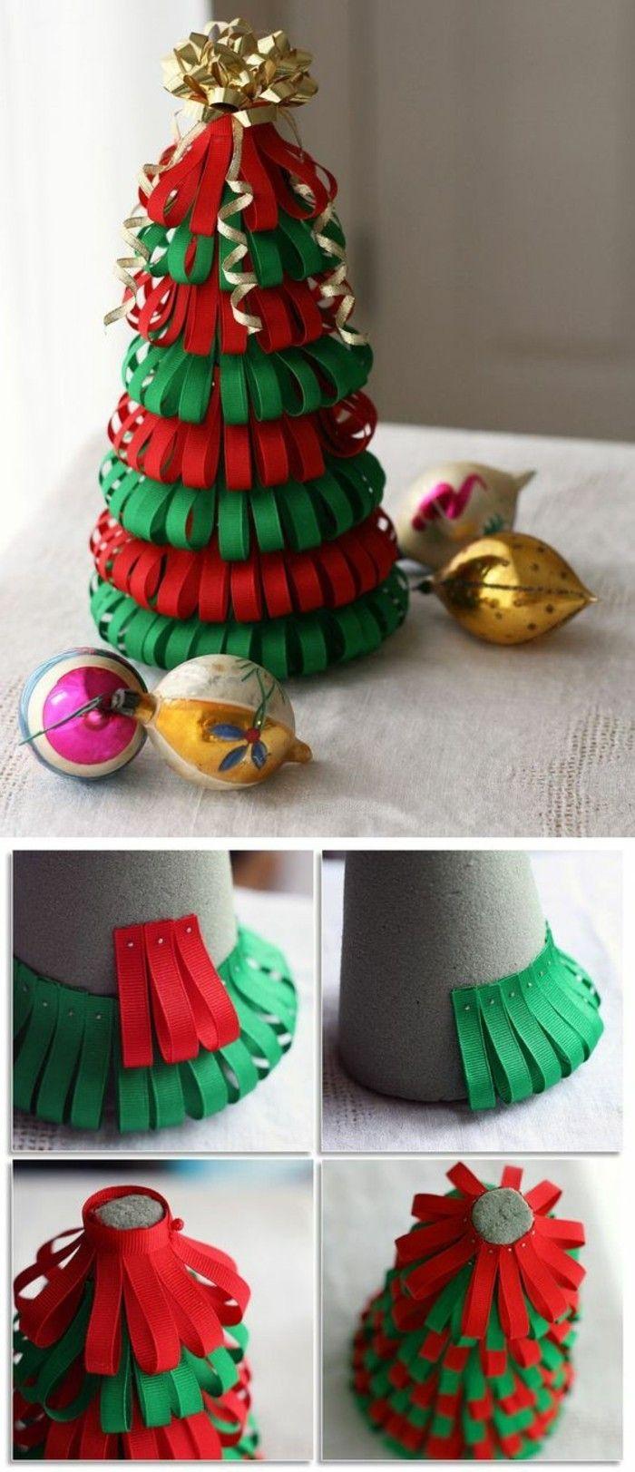 bandes de rubans en rouge et vert,attachées sur un cône, un magnifique arbre de noel décoratif, décoration de noel à fabriquer
