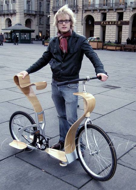 Svepa Bike, designed by Par Blanking of Sweden. The frame is made of aluminium and plywood. One extra passenger can stand on the rear footboards. It can also be used as a kick bike.