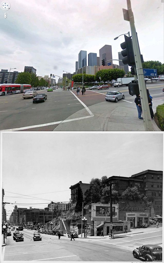 Looking South On Hill Street Across 1st 1939 And Now Los Angeles History California History San Luis Obispo County
