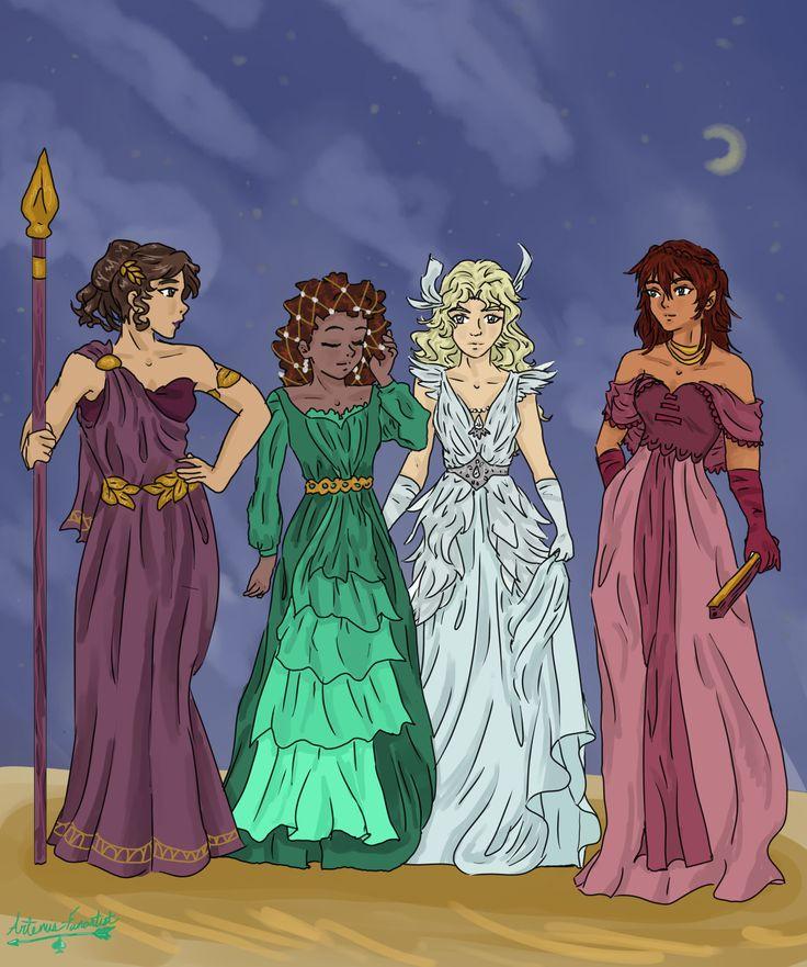 Reyna, Hazel, Annabeth, Piper