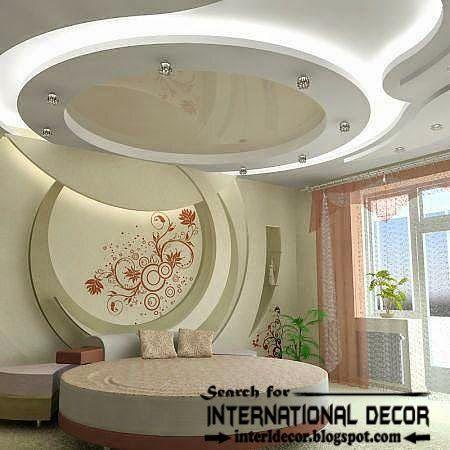 Modern pop false ceiling designs for bedroom 2015, LED lighting tray ceiling: