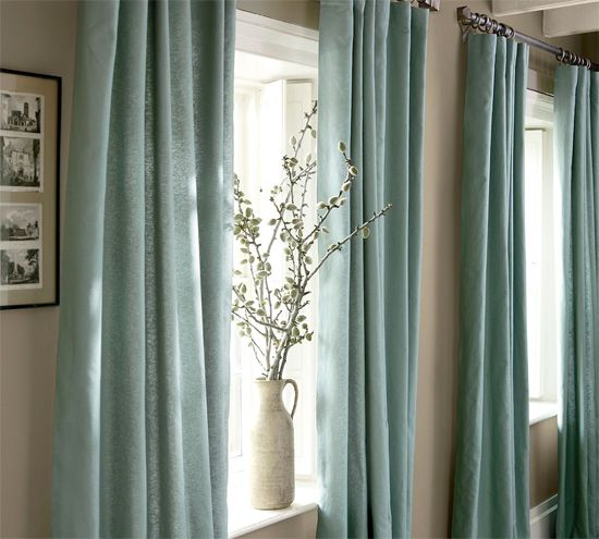 POTTERY BARN EMBROIDERED SILK CURTAINS