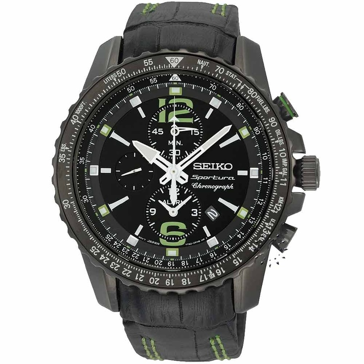 SEIKO SPORTURA Alarm Chronograph Black Leather Strap  483€  http://www.oroloi.gr/product_info.php?products_id=28977