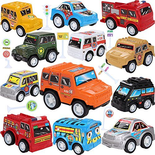 #Toy #Cars With #Road Signs,19 #Pieces #Pull Back #Unique #Vehicles #Play Set,Mini #Cars #Including Racing/Emergency/Fire Engine/School Bus/Police/Off #Road #Cars for #Kids #Toddlers Over #3 #Years PRETEND #PLAY SETS: 12 Multiple #Vehicles + 7 #Road Signs. #Play with a #toy set that will help develop children's senses and expand their learning capabilities. #UNIQUE DESIGN: Each Cute Car has their own special personality with a premium plastic body and cool paint job to match.
