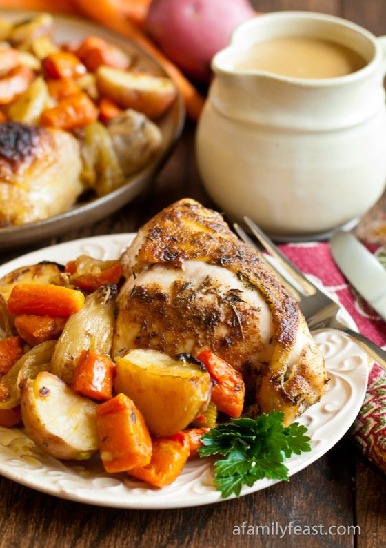 Country Baked Chicken - Really juicy, seasoned baked chicken, caramelized vegetables and the perfect creamy gravy.  I could eat this every night and never get tired of it!