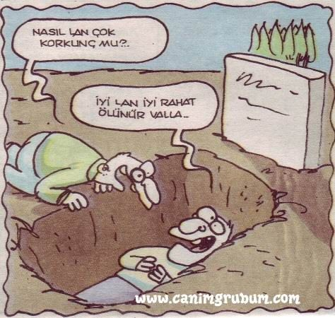 Karikatür:   - Nasıl lan çok korkunç mu?  + İyi lan iyi rahat ölünür valla...