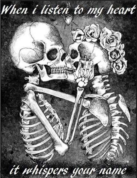 Girl guy skulls saying