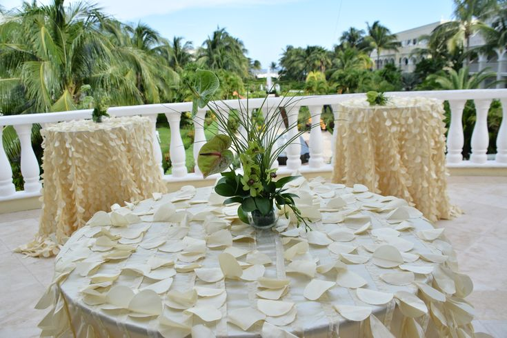 Talk with the onsite coordinator to find the perfect location for your wedding celebrations here at Dreams Tulum Resort & Spa! #Cocktailhour #TropicalCenterpiece #DestinationWedding #Tulumwedding #DreamsTulum