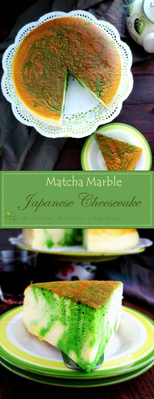 Matcha Marble Japanese Cheesecake Recipe. Different from New York style, this cheesecake has very light cottony texture. The topping and can be vary start from lemon curd until your favorite jam. #Japanesecheesecake #matchacheesecake #greentea #cheesecake #asiandessert #İndonesian #JCC