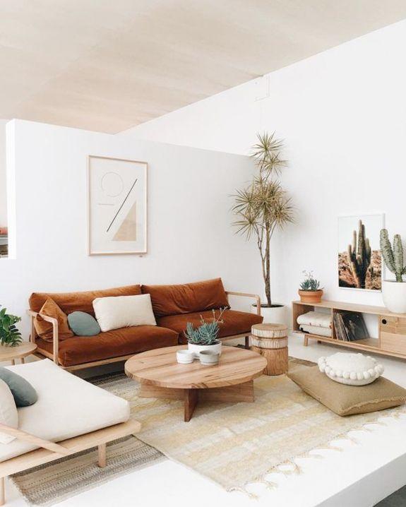 minimal geometric art and velvet rust upholstered sofa. / sfgirlbybay