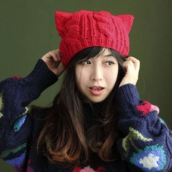 Women Horns Cat Ear Crochet Braided Knit Ski Beanie Wool Hat Cap
