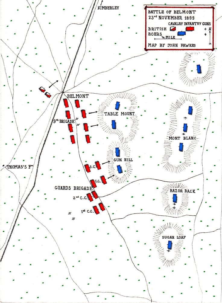 Map of the Battle of Belmont on 23rd November 1899 by John Fawkes