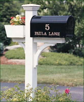"Madison Mail Post - The flower box is a cheery addition. 5 1/2"" sq. post. Crafted in cellular vinyl."