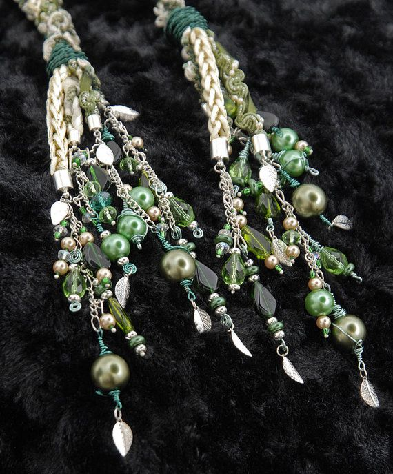 Handfasting cord in shades of green and cream by BindingTies  Beautiful. Would love something blue.