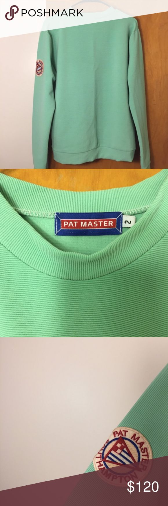 Pat Master Sweatshirt Brand is Pat Master, but brand is not an option on Poshmark, so tagging Supreme for views.  Found this ribbed, neon light green (almost turquoise) men's shirt in a Paris select shop. Has a flattering patch on the side of the arm. Never worn.  【★】Reasonable offers accepted immediately 【★】Add listing to a bundle and I'll make you an offer! Sweaters Crewneck