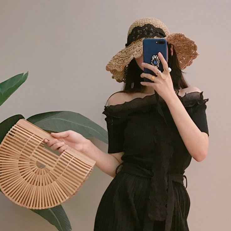 Woman Summer Beach Bag Fashion Bamboo Weave Handbag Luxury Designer Female Tote Lady Fresh Straw Bags Shopping Bolso SS0274  Description:  Bag Type : Handbag  Material : Bamboo  Design : Bamboo weave  Color : Wooden  Size : 32*10*29cm  28*7.5*2...