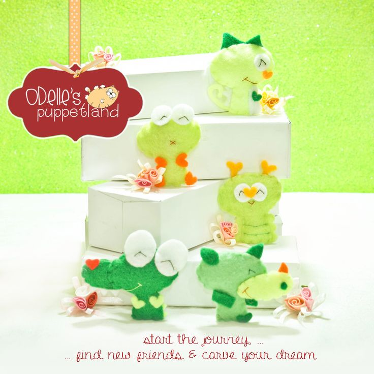 green on the box...there are green characters  one of the 50 cute characters in odelle's puppetland.  Each character here, is available for the finger puppet, pencil puppet mini puppet.  Get them for only rp7.000/each.  Contact me: odellespuppetland... sms/wa : 0896 420 97 266 ping me! 7448EE1E  #fingerpuppet # puppet #odellespuppetland #handmade #craft #felt #bonekajari #buaya #kodok #ulat #bunglon #badak #baby #kids #edutoys