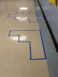 Perimeter & Area activity. Do in hallway, lunchroom, or gym. Blue painter's tape will easily come off when finished. Great task for parent volunteers to set up. I'd number them with tape too!