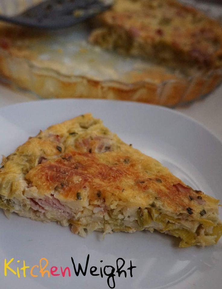 Quiche sans pâte au bacon/poireaux WW(gruyere remplacé par de la cancoillotte)   4pers/5pts