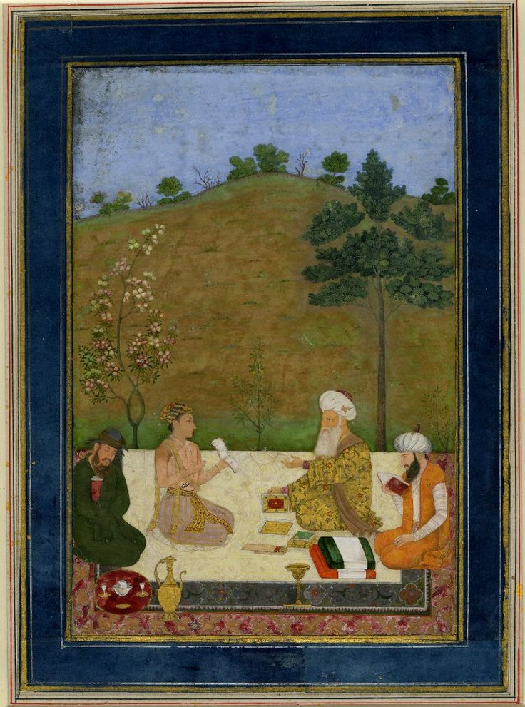 Mughal Prince Dárá Shikúh with 3 sages, with inscription. attr. to Dal Chard - but curator does not agree. See Comments ca.1650. India