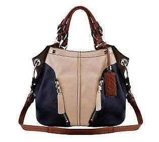 Oryany Sand Multi Pebble Leather Victoria Colorblock Large Hobo Shoulder Bag  orYANY http://