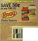 Ragu Pasta Sauce Save $0.50 Two (14) Coupons 11/30/13 - $0.50, 11/30/13, COUPONS, Pasta, Ragu, Sauce, SAVE