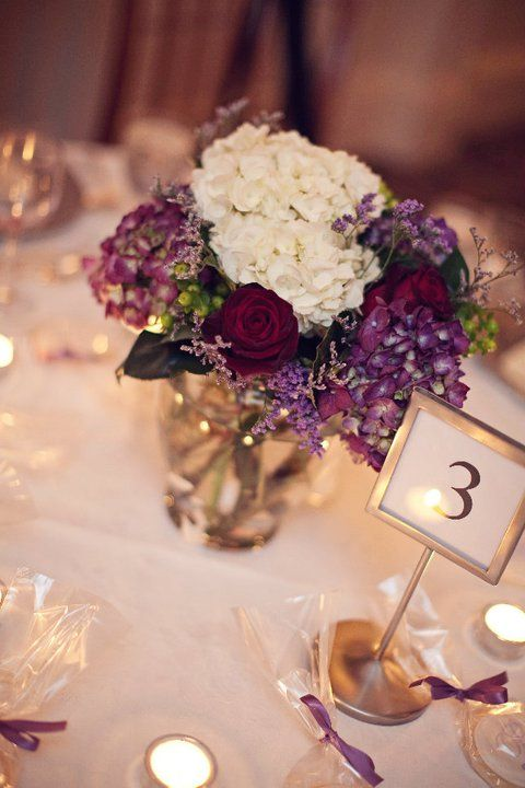 purple and ivory hydrangea (obviously not the burgundy roses)
