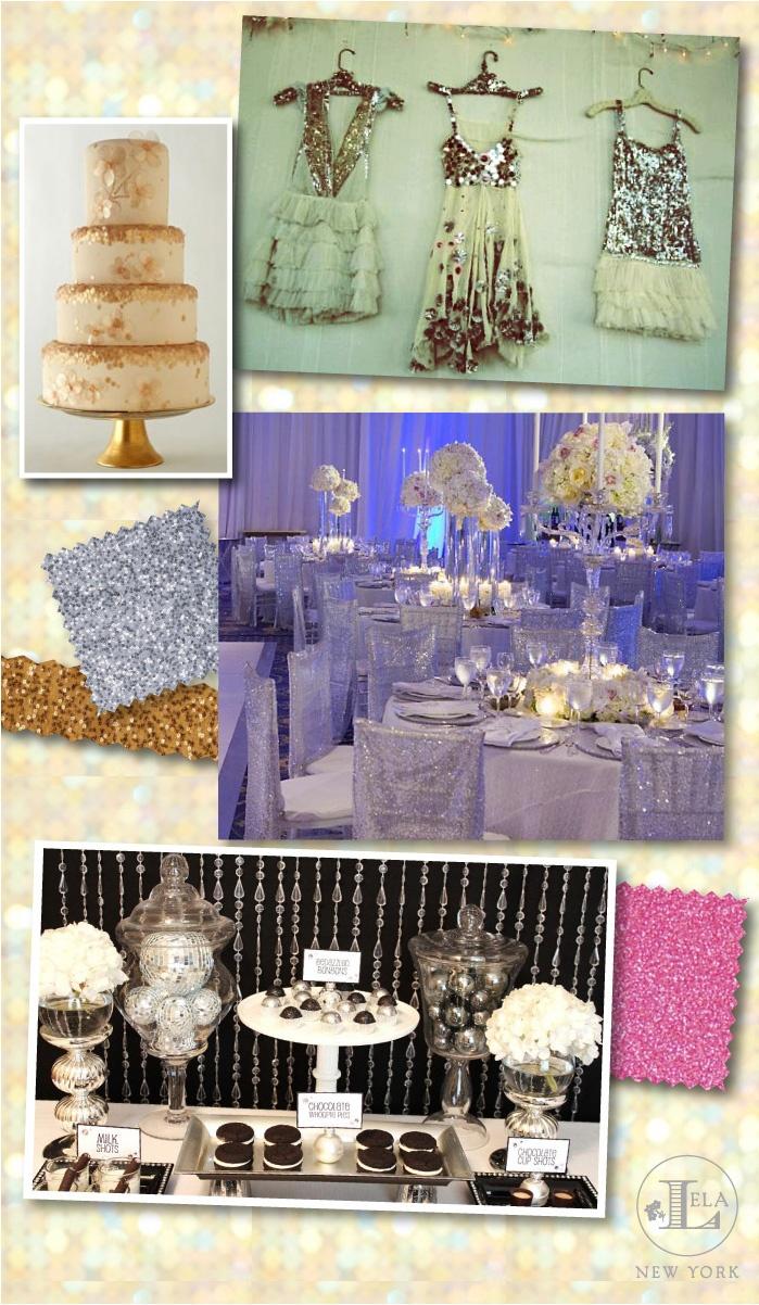 All Things Glitter & Glitz wedding inspiration board by Lela New York luxury wedding invitations
