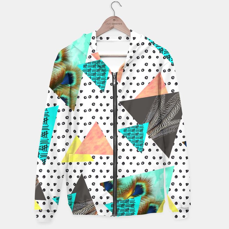 feathers & triangles Sudadera con capucha, Live Heroes