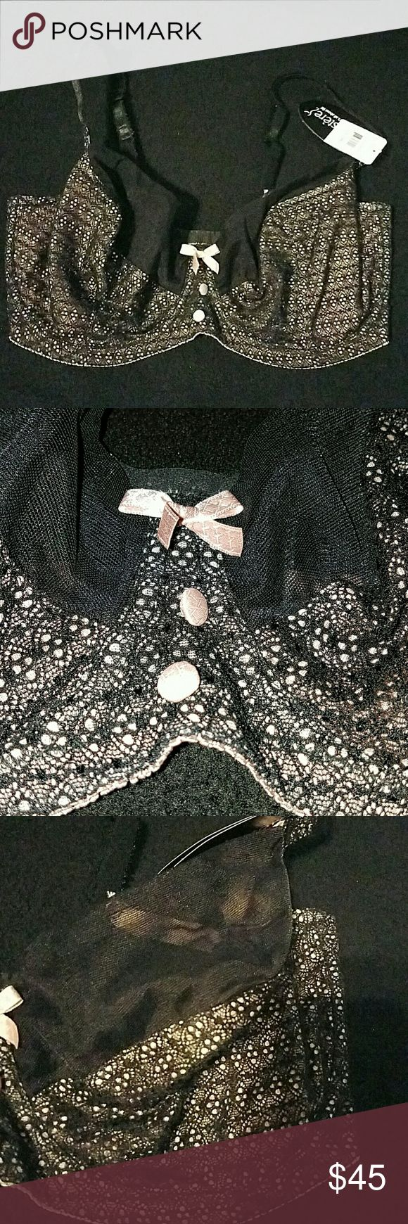 38G Le Mystere #2114 Unlined Bra Gorgeous black lace over nude cups with sheer mesh on cups and back. NWT!!! Le Mystere Intimates & Sleepwear Bras