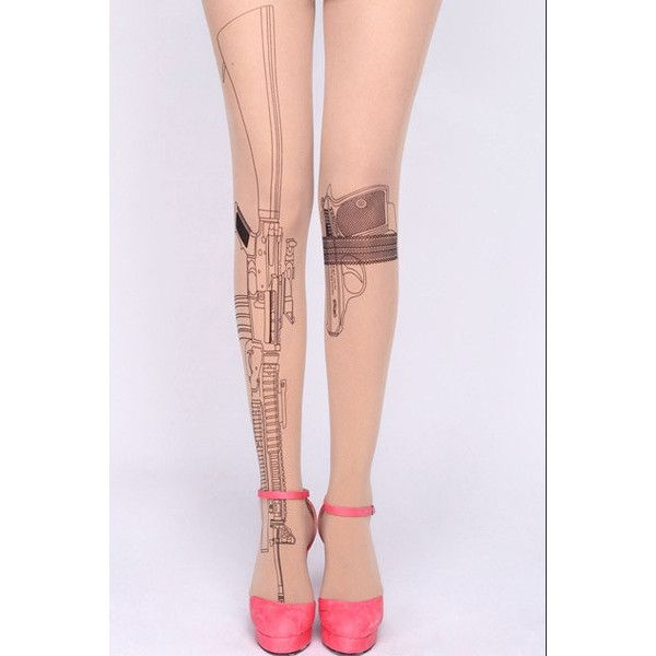 Sheer Machine Gun Tattoo Tights ($10) ❤ liked on Polyvore featuring intimates, hosiery, tights, tattoo tights, tattoo stockings, tattoo print tights, tattoo hosiery and sheer tights